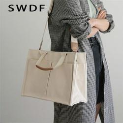 Women's Shoulder Bag Canvas Bag Sewing Thread Handbag Luxury Handbags Women Bags Designer Multi-Pocket Large Capacity Tote Bag