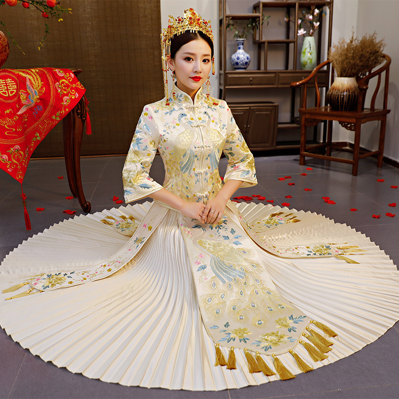 Bruid trouwjurk Traditionele china stijl kostuum Phoenix cheongsam Borduurwerk kleding Luxe oude Royal Party Qipao gown