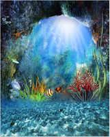 Sonnenschein Durch Tiefblauen Ozean Prinzessin Meerjungfrau Hintergrund für Fotografie Gedruckt Pflanzen Fische Hochzeit Foto Hintergründe
