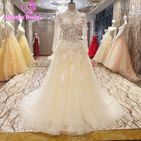 2017 New High end Evening Dress Luxury The Bride Banquet 3D Flowers Crystal Beading High neck Long Sleeves Prom Party Gowns