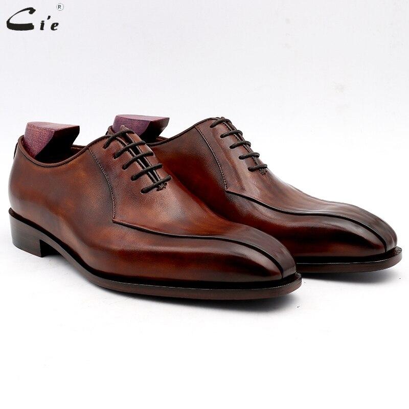 Cie hommes robe chaussures en cuir patiné marron hommes chaussures de bureau en cuir de veau véritable semelle extérieure hommes costumes en cuir fait main N° 8