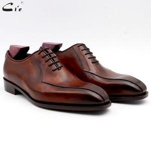 Image 1 - Cie zapatos de vestir de cuero para hombre, calzado de oficina marrón, suela de Piel De Becerro auténtica, trajes de cuero Formal, hechos a mano, n. ° 8