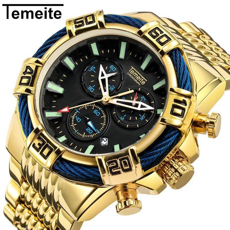 Temeite Mens Watches Luxury Golden Quartz Watch 1