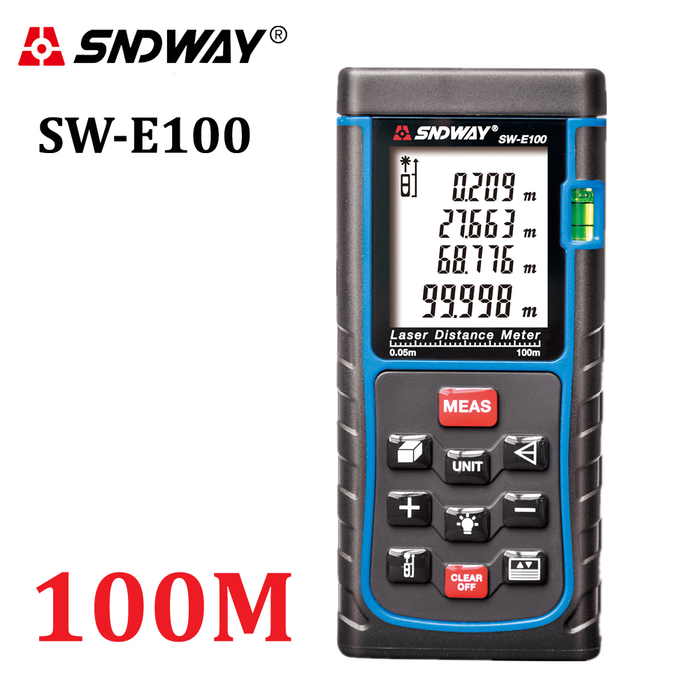 SNDWAY Handheld Rangefinder RZ100 328ft Distance Meter Digital trena Laser Range Finder Area volume Angle measuring
