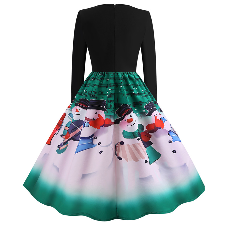 3bb5708fe50e1 Vintage Dress Women Plus Size Elegant Print Christmas Party Dresses Casual  Long Sleeve Winter Dress Robe 50s Patchwork Vestidos