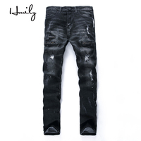 HMILY Famous Brand Fashion Designer Jeans Men Straight Dark Blue Color Printed Mens Jeans Ripped Hole Jeans 100% Cotton Male