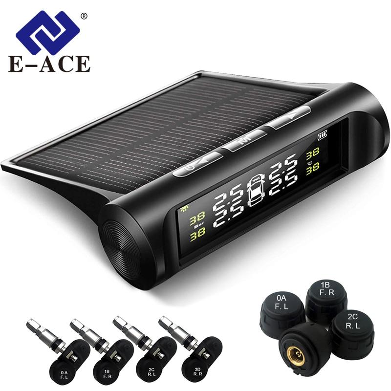 E-ACE K01/K02 de Segurança Do Carro Alarme de Pressão Dos Pneus Sistema de Monitoramento da Pressão Dos Pneus TPMS Carro Display Digital de Energia Solar Inteligente sistema