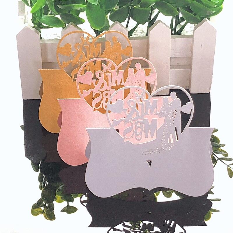 10 Kleuren 50 Stks Mr & Mrs Liefde Heart Laser Cut Wedding Party Tafel Naam Plaats Card Favor Bericht Instelling Kaart Event Feestartikelen