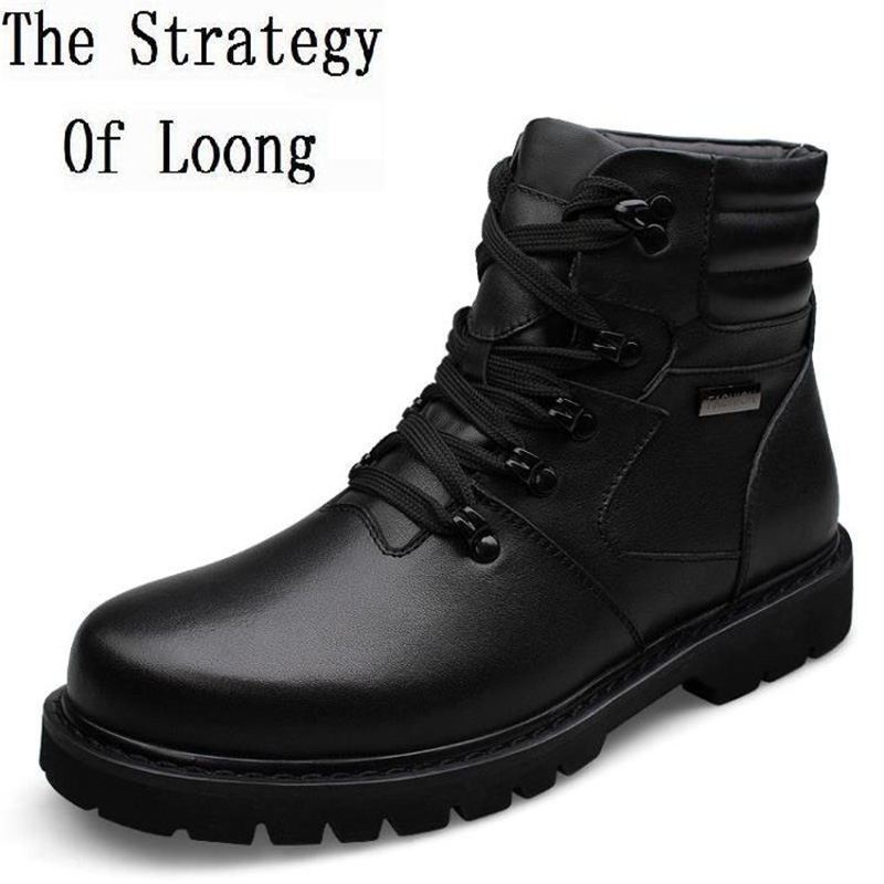 Genuin Leather Men Martin Boots Full Cow Leather Man High Fashion Warm Snow Boots Plus Size 37-48 Mens Black Ankle Boots 141125 roxdia genuine leather men ankle boots snow winter warm fashion work male waterproof for mens shoes plus size 39 48 rxm051