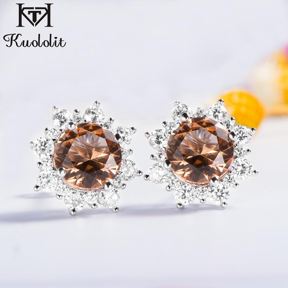 Kuololit Zultanite Gemstone Stud Earrings For Women Solid 925 Sterling Silver Created Color Change Earrings Fine Jewelry Gifts