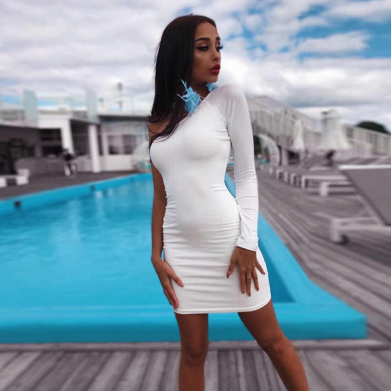 Toplook хлопок одно плечо платья сексуальные черные с длинным рукавом Сексуальные облегающие платья осень зима женские модные вечерние платья 2019