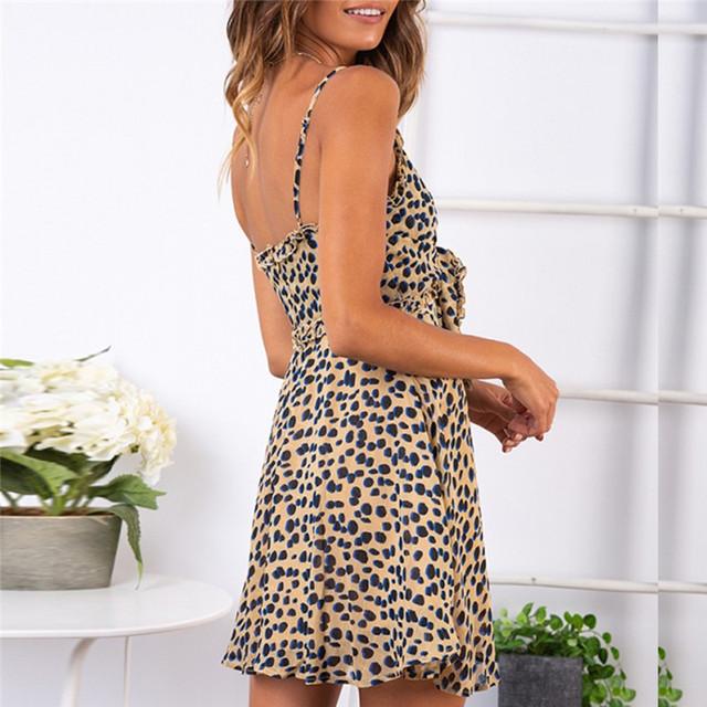 Summer Dress For Sexy Womens Fashion Ladies Open Leopard Splice Print Sleeveless V-Neck Sling Mini Dress Sexy Vestidos