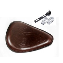 Motorcycle 3″ Spring SOLO Bracket Brown Flame Seat for Harley Sportster Bobber Chopper Custom
