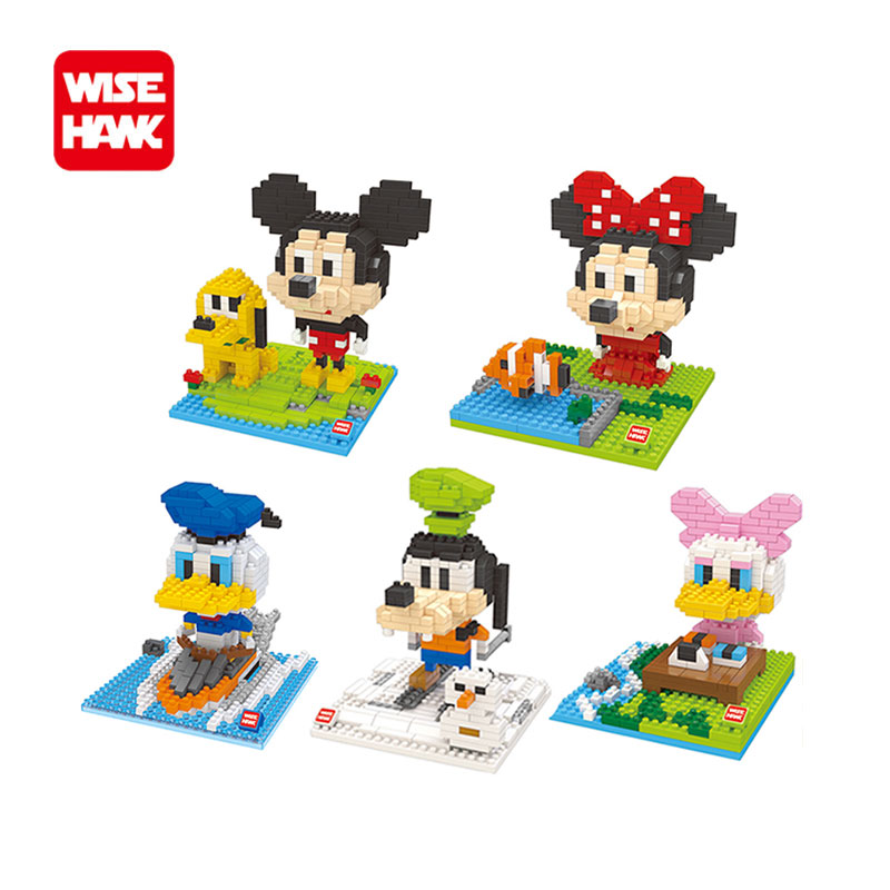 WiseHawk nanoblocks Kawaii mouse mickey diy 3d action figures plastic hot puzzle cartoon model children christmas toys gifts.