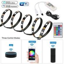 5 в RGB Светодиодная лента USB ТВ ПОДСВЕТКА 5050 музыка Wifi смарт-приложение Amazon Alexa Google Kit настольная фоновая лампа ТВ компьютерная лампа