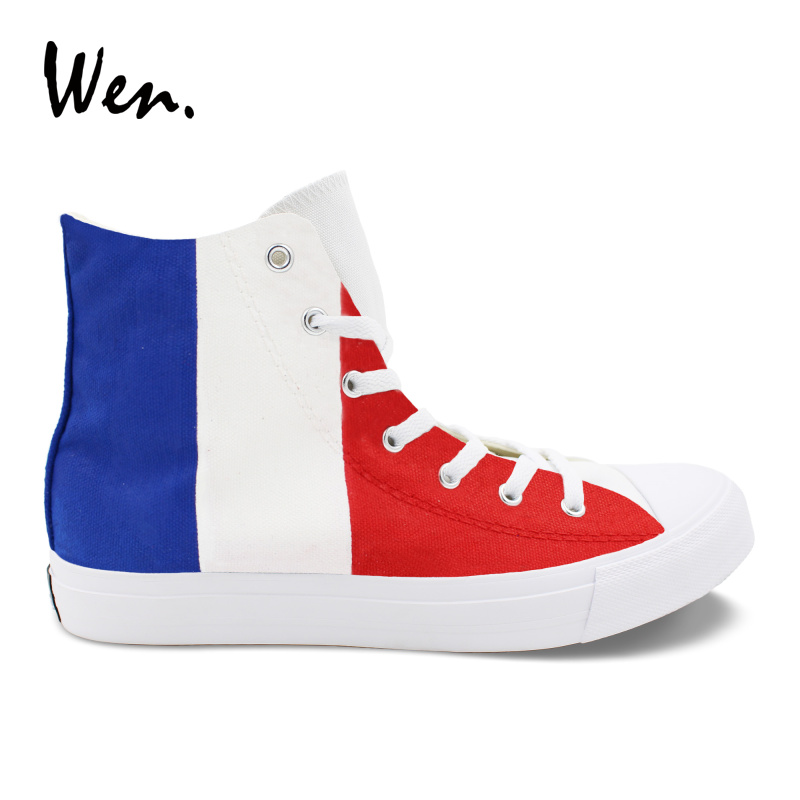 Wen Colored Drawing Vulcanize Shoes France Flag Design Hand Painted Sneakers Blue White Red Stripes Painting Canvas Casual Flat elonbo y1h8 women s elastic sleeveless american flag style digital painting jumpsuit white red