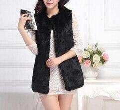 Лучшее качество, натуральный кроличий мех, жилет для женщин, модный натуральный кроличий мех, жилетка, фабричная, опт и розница, TFP950 - Цвет: Black