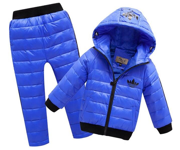 New Hoodies Down Jacket + Trousers Waterproof Snow Warm kids Clothes Children Boys girls Clothing 2-8year Children's Clothes Set