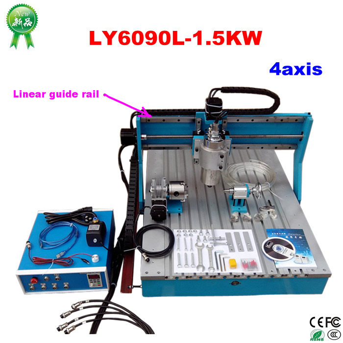 CNC Router 6090 Engraver 1500W Water Cooling Engraving Drilling and Milling Machine with Linear Guide Rail ly cnc router 6090 l 1 5kw 4 axis linear guide rail cnc engraving machine for woodworking