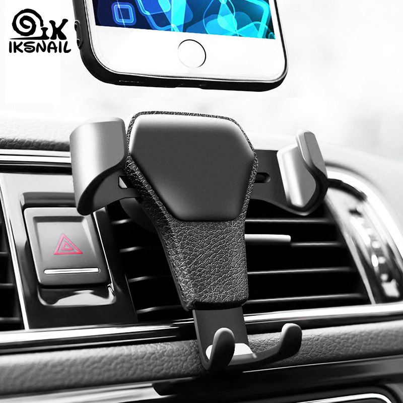 IKSNAIL Universal Car GPS Holder Car Air Outlet Universal Navigation Bracket Gravity Leather Mobile Phone Stand Car SuppliesIKSNAIL Universal Car GPS Holder Car Air Outlet Universal Navigation Bracket Gravity Leather Mobile Phone Stand Car Supplies