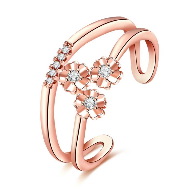 Nobleness Rose Gold & White Gold Three Flowers Friendship Carter Ring Finger CZ Bijoux Anel Pride Wedding Women Girl Jewelry