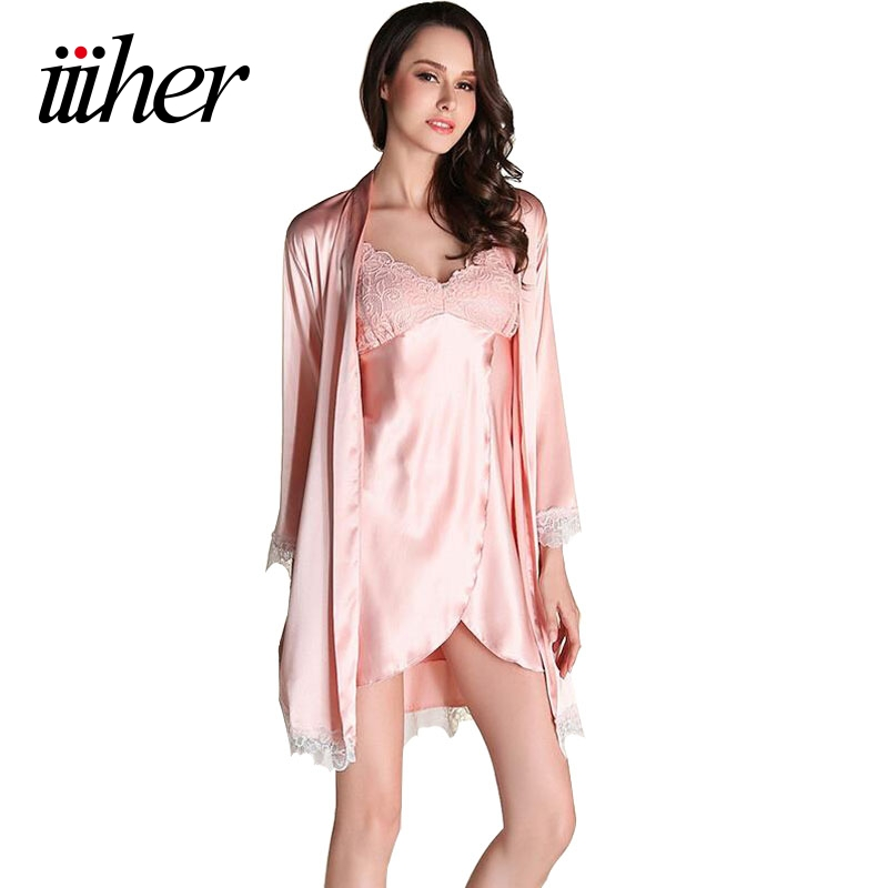 iiiher New Summer Style Two Pieces Robe Set Luxury Lace Satin Silk Nightgown + Bathrobe Pijamas Mujer Sexy Ladies Nightgowns Hot