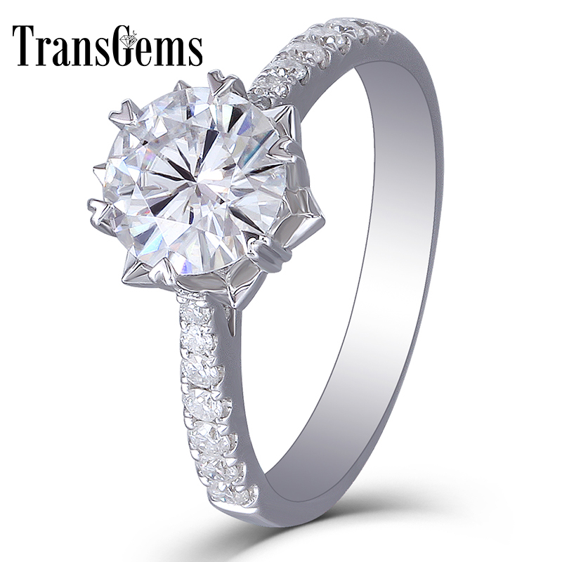 Transgems 14k 585 White Gold 1CT Carat Diameter 6.5mm F Color Moissanite Engagement Ring For Women Flower Shaped with Accent transgems 1ct carat lab grown moissanite diamond jewelry wedding anniversary band solid white gold engagement ring for women