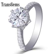 Transgems 14k 585 White Gold 1CT Carat Diameter 6.5mm F Color  Moissanite Engagement Ring For Women Flower Shaped with Accent