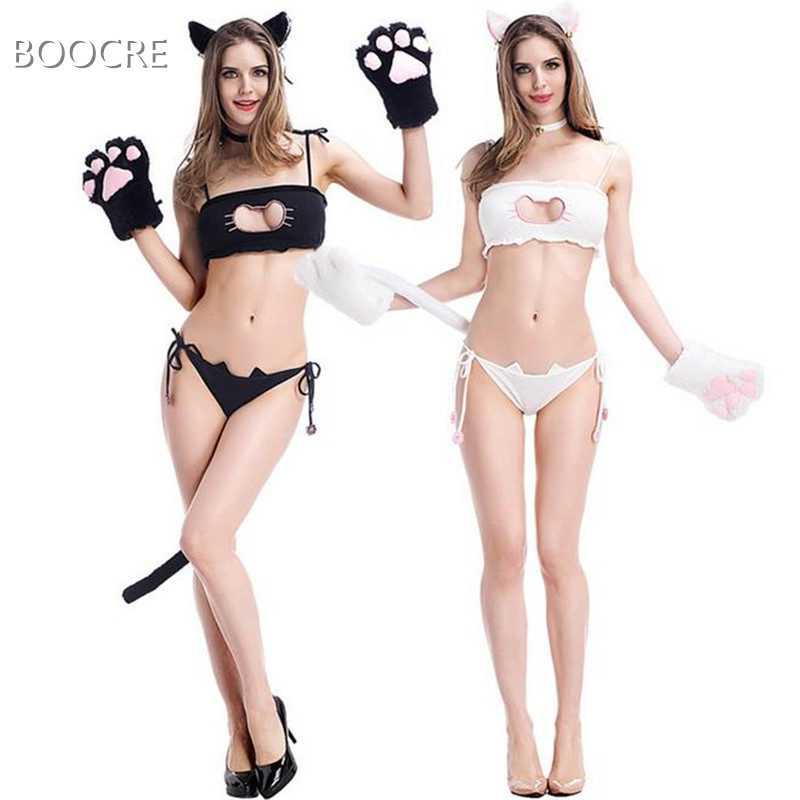 cc66fbd157c62 New Arrive Cute Sexy Kawaii Kitty Cat Embroidery Meow star Keyhole Hollow  Bra And Underwear Love