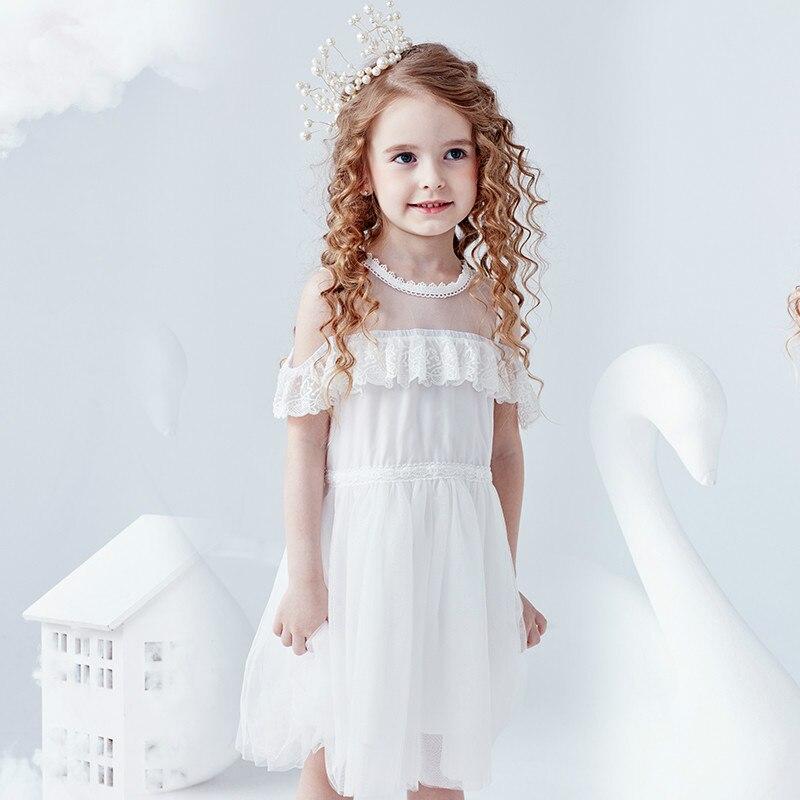 Filles robe de princesse robe d'été 2019 nouvelle version de la robe d'épaule mot super étranger enfants hors épaule robe