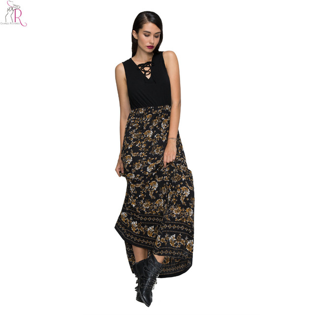c0f5509daa Black Floral Lace Up Maxi Skater Dress Sleeveless A Line Slim Casual  Streetwear Party 2017 Women Summer