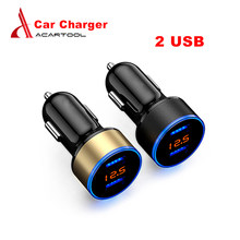 2 USB Car Charger Adapter 5V 3.1A Digital LED Voltage/Current Display Auto Quick Charge for Phone/PAD Free Shipping(China)