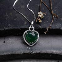 Amore a forma di cuore 925 Ciondolo Collana In Argento pietre semi-preziose Naturali verde calcedonio verde monili delle donne