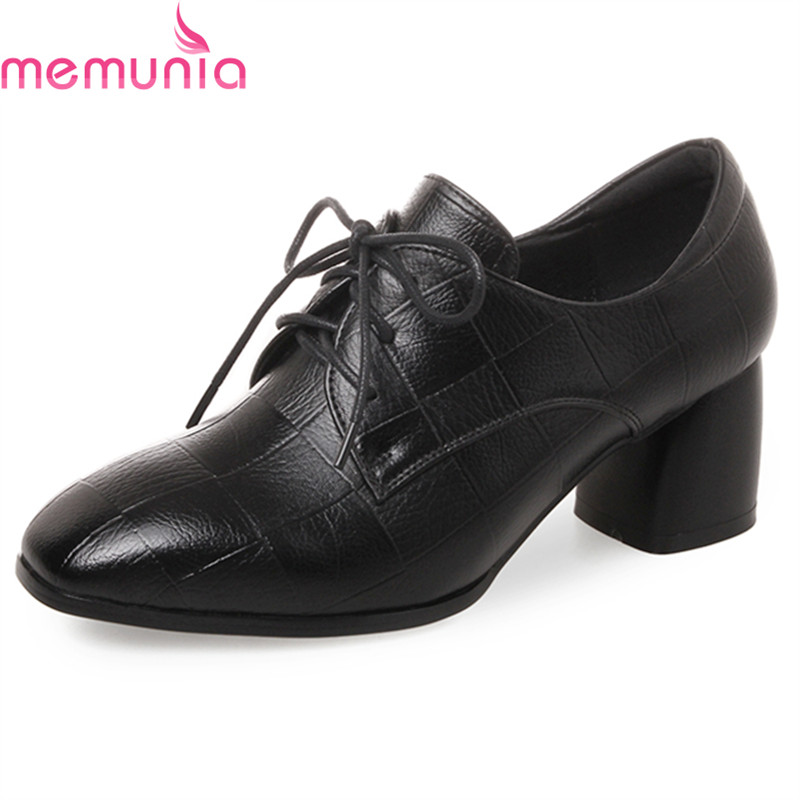 MEMUNIA spring autumn fashion new arrive lace up casual shoes thick high heels square toe black pu leather women pumps siketu 2017 free shipping spring and autumn high heels shoes fashion women shoes wedding shoes thick sandalsl pumps g042