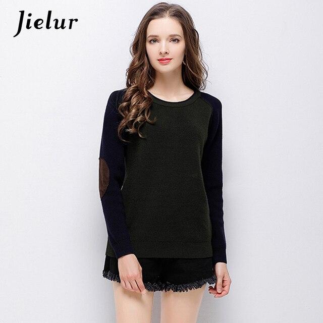 2018 Musim Gugur Leher Bulat Sweater Hangat untuk Wanita Hit Warna  Patchwork Pakaian Rajut Hijau Tentara da0a82026b