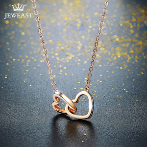 Image 2 - XXX Pure 18k Gold Necklace Pendant For Women Heart Charm Chain Fine Jewelry Elegant Romantic Fashion Real True Solid Party