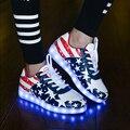 2017 Adulto Zapatos Led Hombres Ocasionales Coloridos Zapatos Luminosos Led con la Luz de USB Recargable Iluminado Zapatos Para Adultos Negro blanco