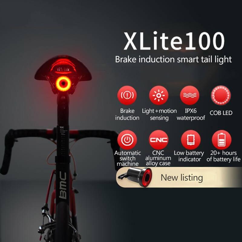 XLITE100 Bicycle Flashlight Bike Rear Light Auto Start/Stop Brake Sensing IPx6 Waterproof LED Charging Cycling Taillight
