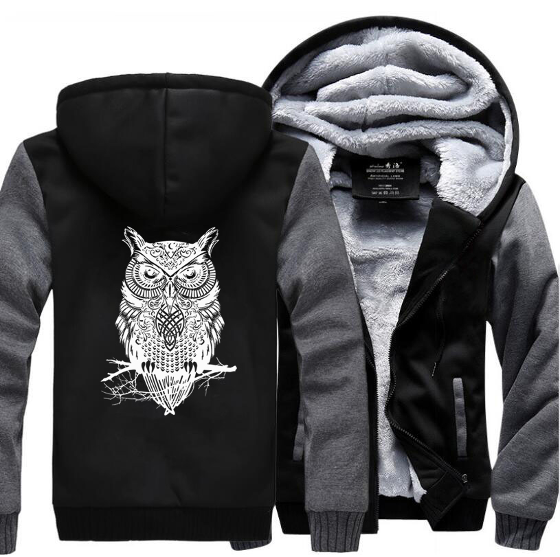 Animal Owl Print Funny Clothing 2019 Winter Warm Fleece High Quality Sweatshirt Men Thick Hoodies Brand Jacket Pluse Size M-5XL