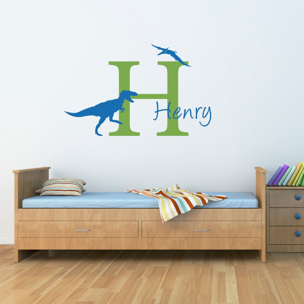 High Quality Custom Boys Name Wall Stickers With Little Baby Dinosaur Silhouette Cute Wall Mural Custom Name Bedroom Decor W-159