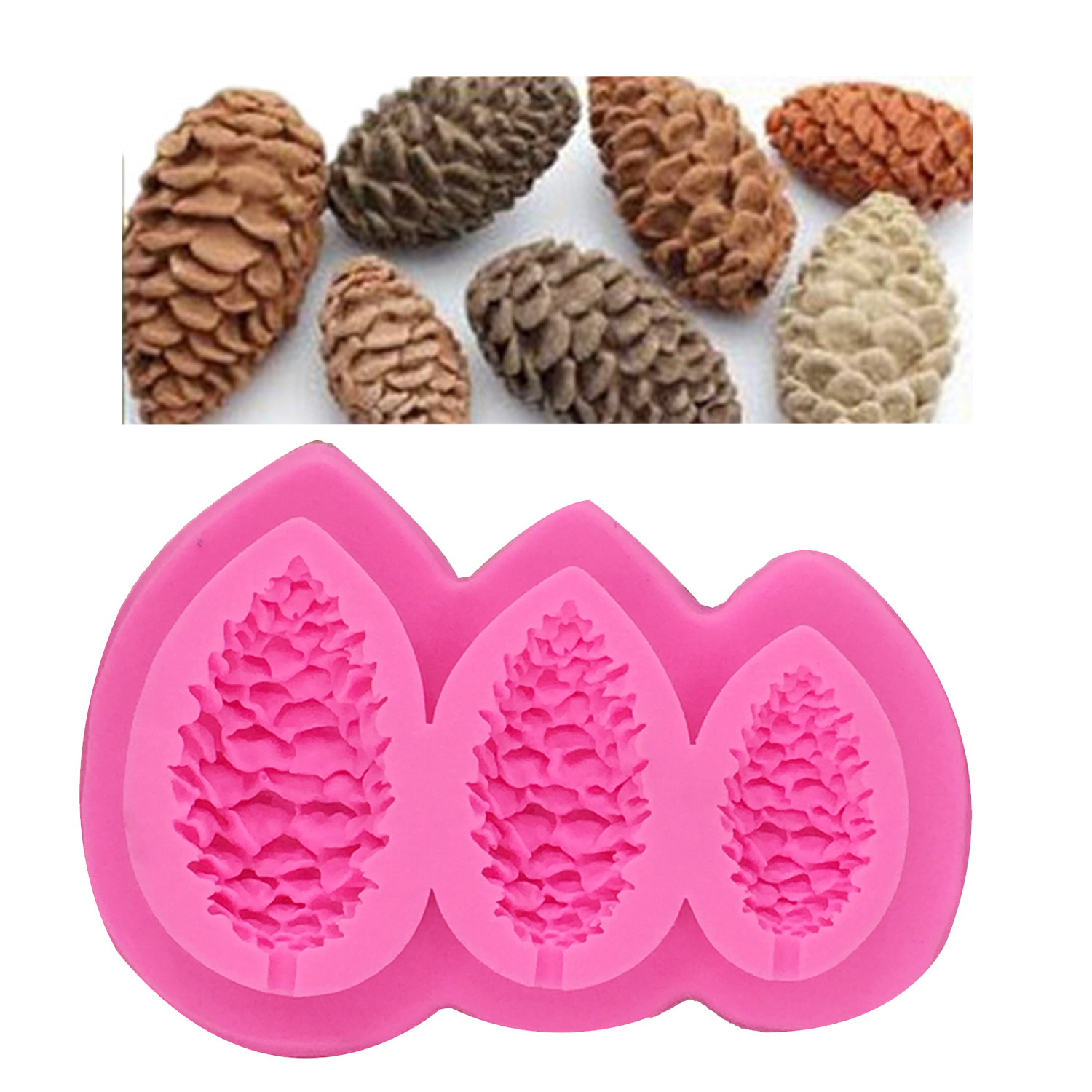 Sugarcraft Pine cones Silicone mold fondant mold Pine nuts Christmas ...