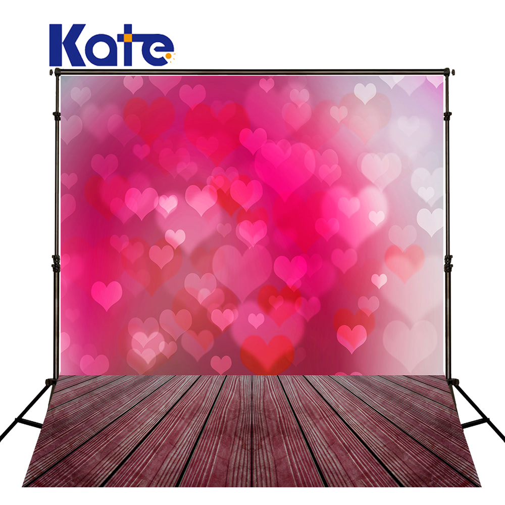 Kate Pink Heart Photography Background Love Valentine'S Day  Wedding Backdrop Wood Floor Children Backgrounds For Photo Studio
