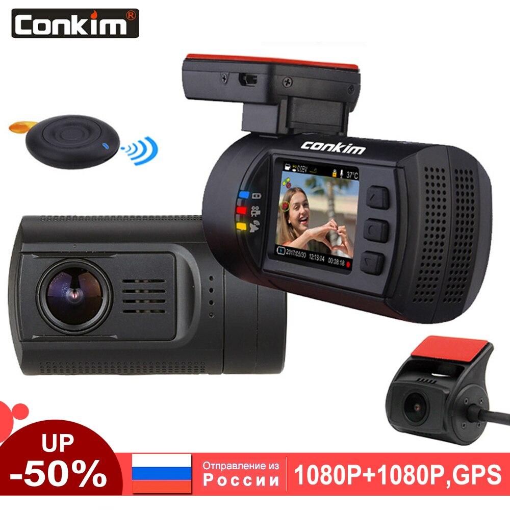Conkim Lente Dupla Do Carro Traço GPS Câmera Frontal Do DVR FHD 1080 P + Câmera Traseira 1080 P FHD Guarda de Estacionamento auto Secretário Mini 0906 Traço Cam