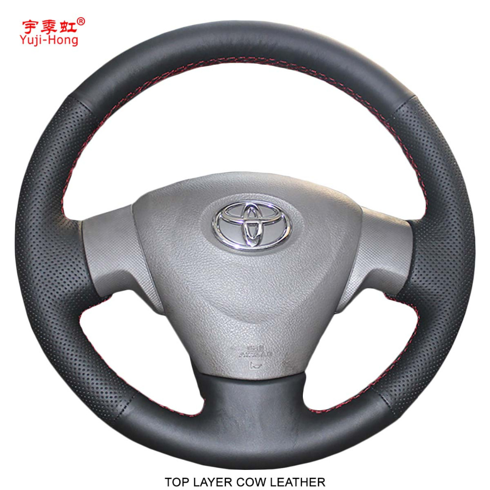 цена на Yuji-Hong Car Steering Wheel Covers Case for Toyota Corolla 2006-2010 Corolla-EX 2009-2013 Genuine Top Layer Cow Leather