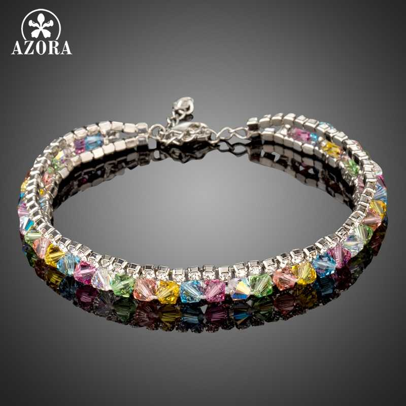 AZORA New Fashion White Gold Color Chain Link Bracelets for Women Jewelry Colorful Austrian Crystals Bracelet & Bangles TS0165