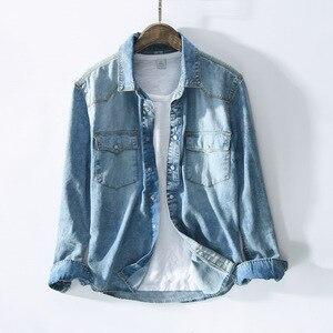 Image 4 - Рубашка мужская джинсовая в стиле сафари, приталенная синяя блуза из денима с карманами, модель 360 в ретро стиле