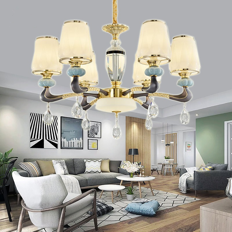 Modern LED crystal chandeliers deco lighting fixtures living room hanging lights French luxury suspension luminaire bedroom lamp