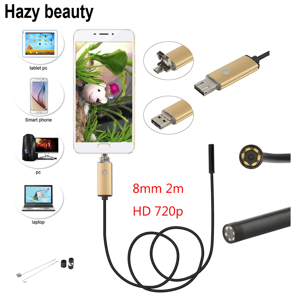 Hazy beauty 8mm Android Endoscope USB Cable Focus Camera 2M Waterproof Full LED HD Inspection Mini Camera Borescope for Phone PC