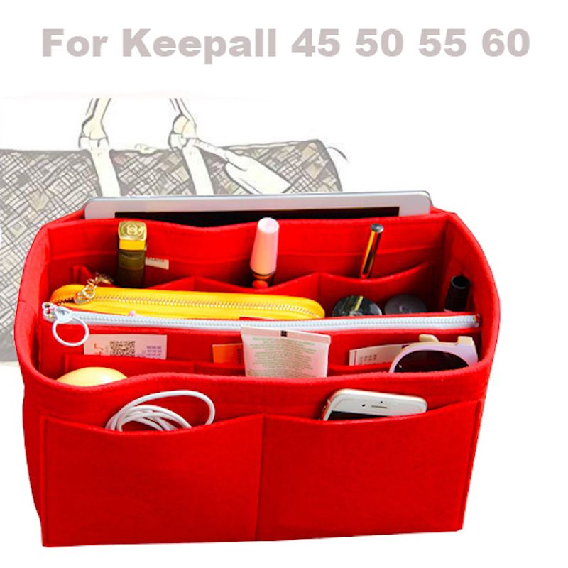 For [Keepall 45 50 55 60]3MM Felt Handbag Organizer Bag In Bag Tote Organizer Insert Diaper(w/Detachable Zip Pocket)