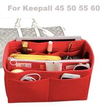 For [Keepall 45 50 55 60]3MM Felt Handbag Organizer Bag In Tote Insert Diaper(w/Detachable Zip Pocket)